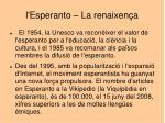 l esperanto la renaixen a
