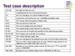 test case description