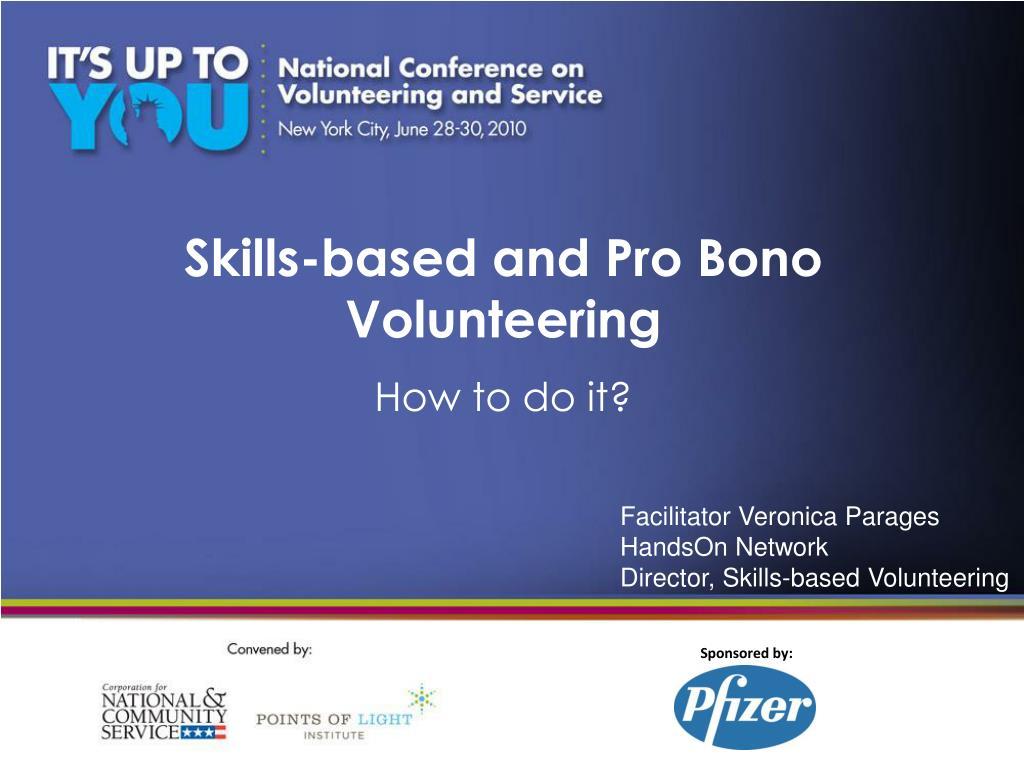 skills based and pro bono volunteering l.
