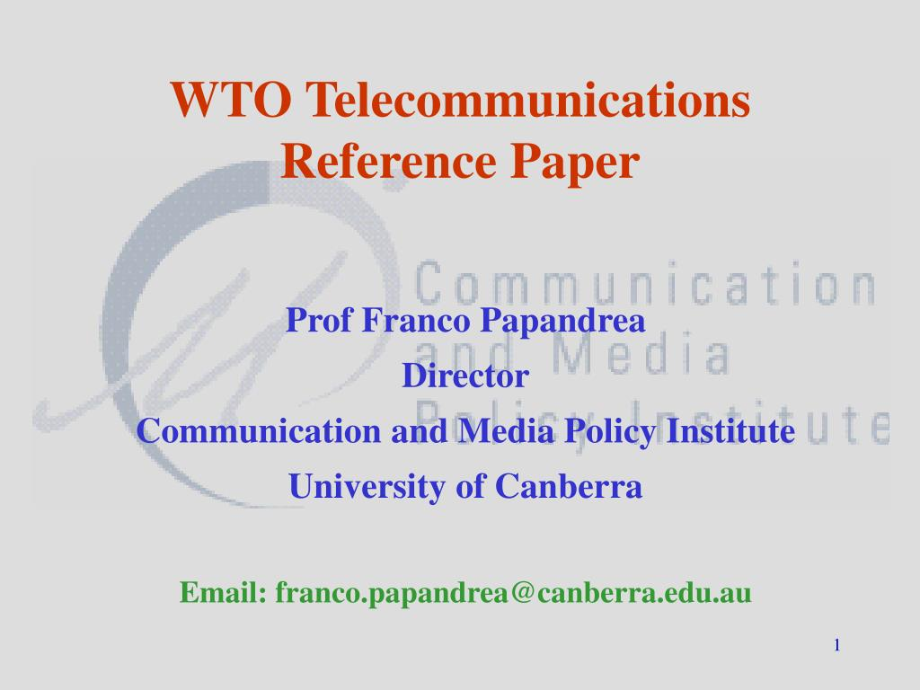 wto telecommunications reference paper l.