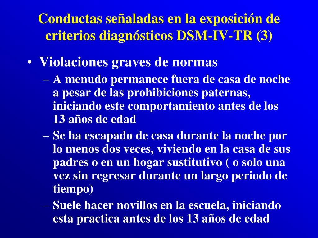 Conductas señaladas en la exposición de criterios diagnósticos DSM-IV-TR (3)