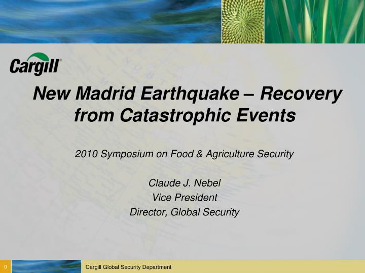 new madrid earthquake recovery from catastrophic events n.