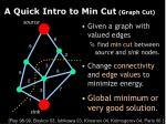 a quick intro to min cut graph cut