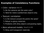 examples of consistency functions