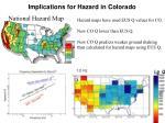 implications for hazard in colorado