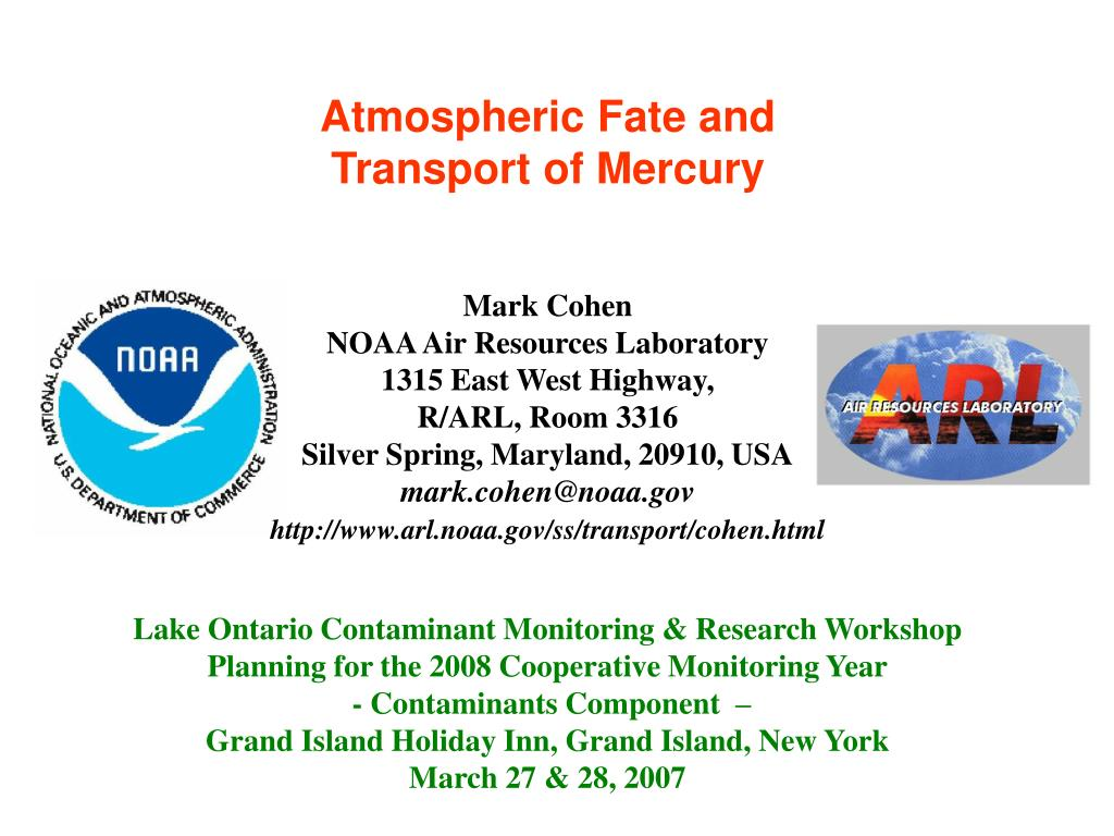 atmospheric fate and transport of mercury l.