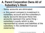 a parent corporation owns all of subsidiary s stock
