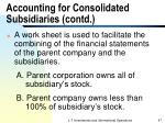 accounting for consolidated subsidiaries contd