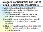 categories of securities and end of period reporting for investments