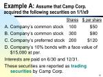 example a assume that camp corp acquired the following securities on 1 1 x9