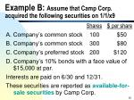example b assume that camp corp acquired the following securities on 1 1 x9