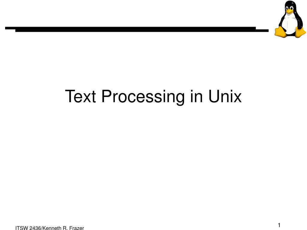text processing in unix l.
