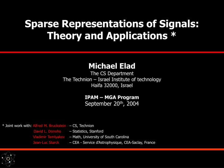 sparse representations of signals theory and applications n.