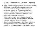 acbf s experience human capacity