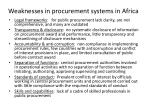 weaknesses in procurement systems in africa
