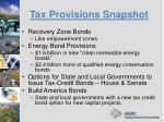 tax provisions snapshot