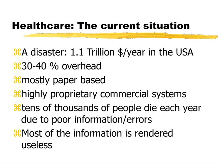 Healthcare the current situation