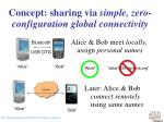 concept sharing via simple zero configuration global connectivity