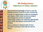 the healing journey objectives of today s session