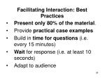 facilitating interaction best practices