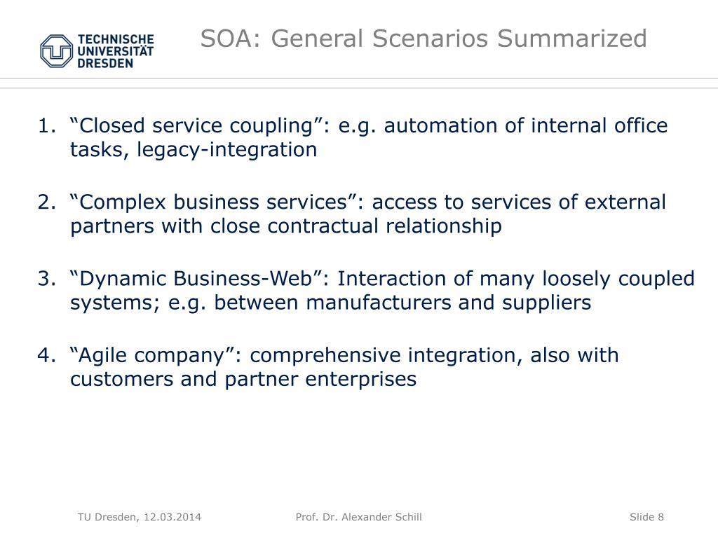 SOA: General Scenarios Summarized