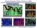 results examples effects of factors on edh
