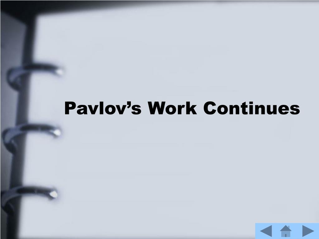 Pavlov's Work Continues