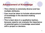 advancement of knowledge