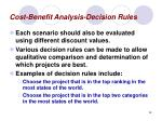 cost benefit analysis decision rules