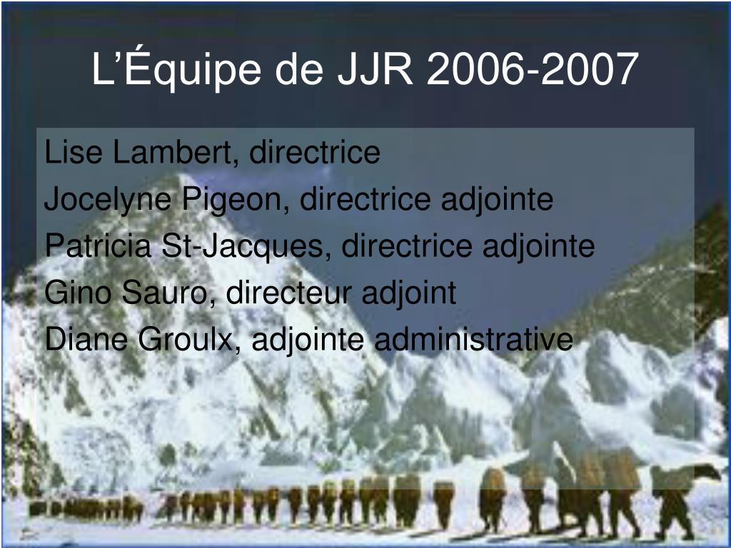 l quipe de jjr 2006 2007 l.