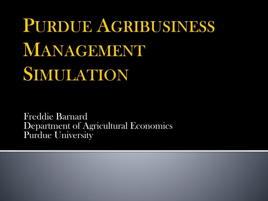 freddie barnard department of agricultural economics purdue university l.