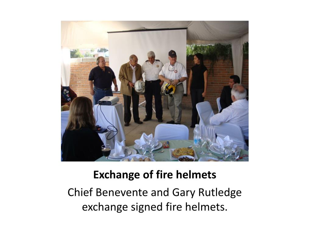 Exchange of fire helmets