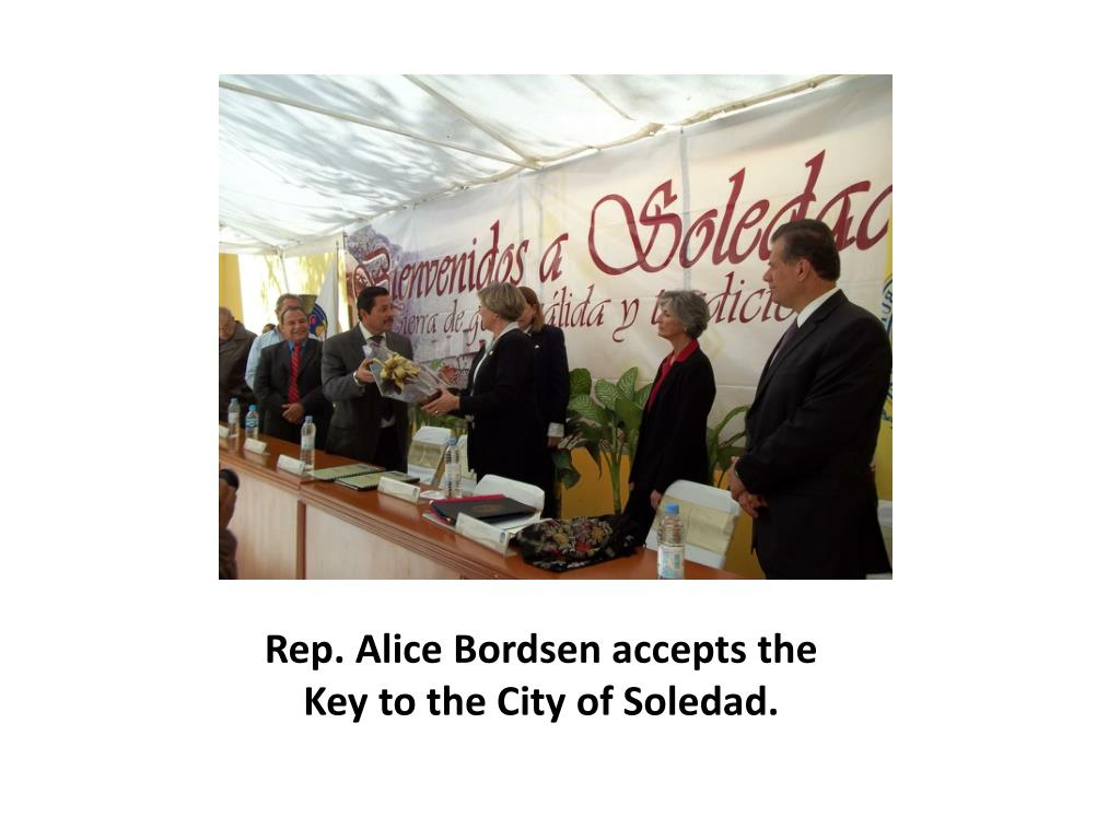 Rep. Alice Bordsen accepts the