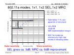 802 11a modes 1x1 1x2 sel 1x2 mrc