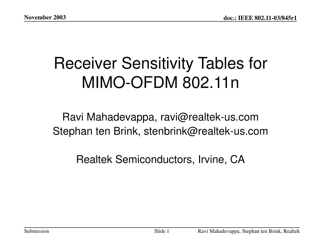 receiver sensitivity tables for mimo ofdm 802 11n l.