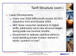 tariff structure cont