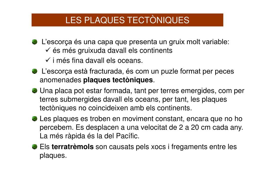 LES PLAQUES TECTÒNIQUES