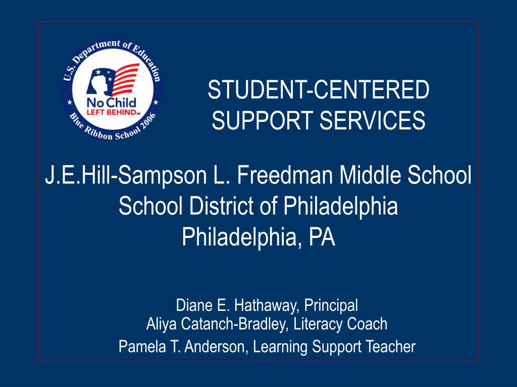 j e hill sampson l freedman middle school school district of philadelphia philadelphia pa l.