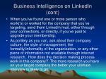business intelligence on linkedin cont