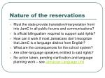 nature of the reservations