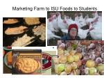 marketing farm to isu foods to students