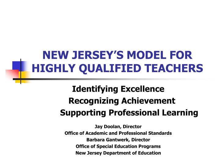new jersey s model for highly qualified teachers n.