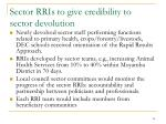 sector rris to give credibility to sector devolution