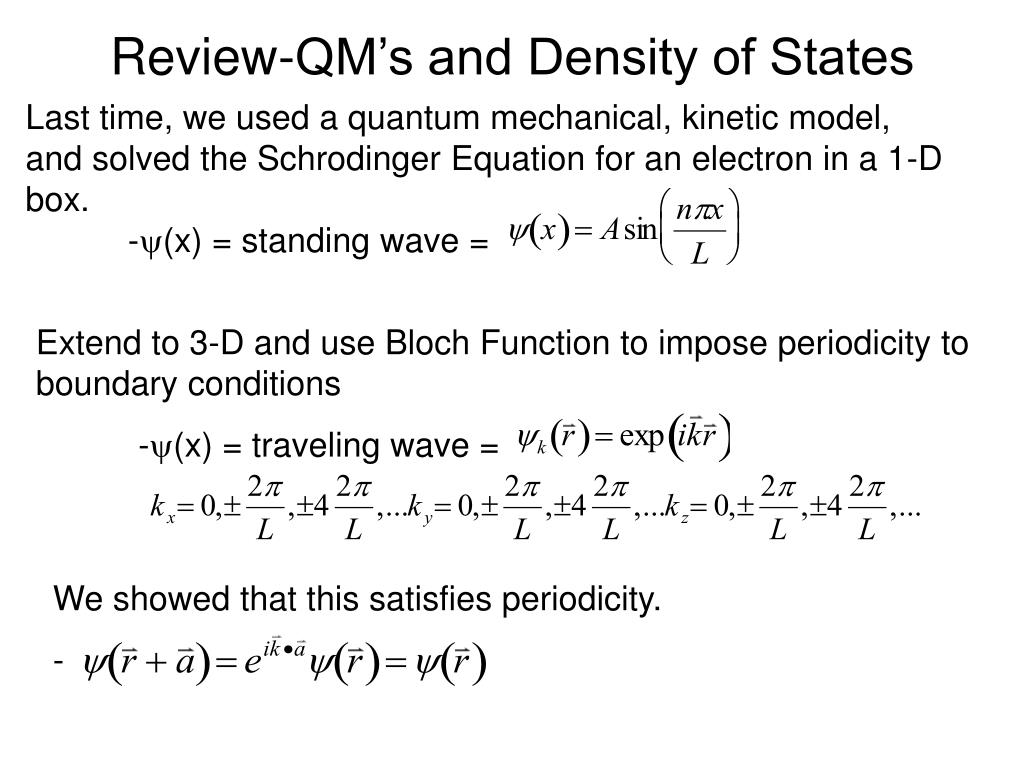 review qm s and density of states l.