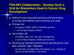 fda nci collaboration develop such a grid for biomarkers used in cancer drug development