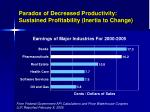 paradox of decreased productivity sustained profitability inertia to change