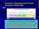 summary integrating use of tools along the critical path