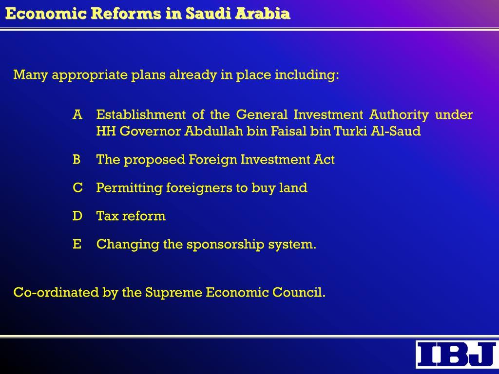 Economic Reforms in Saudi Arabia