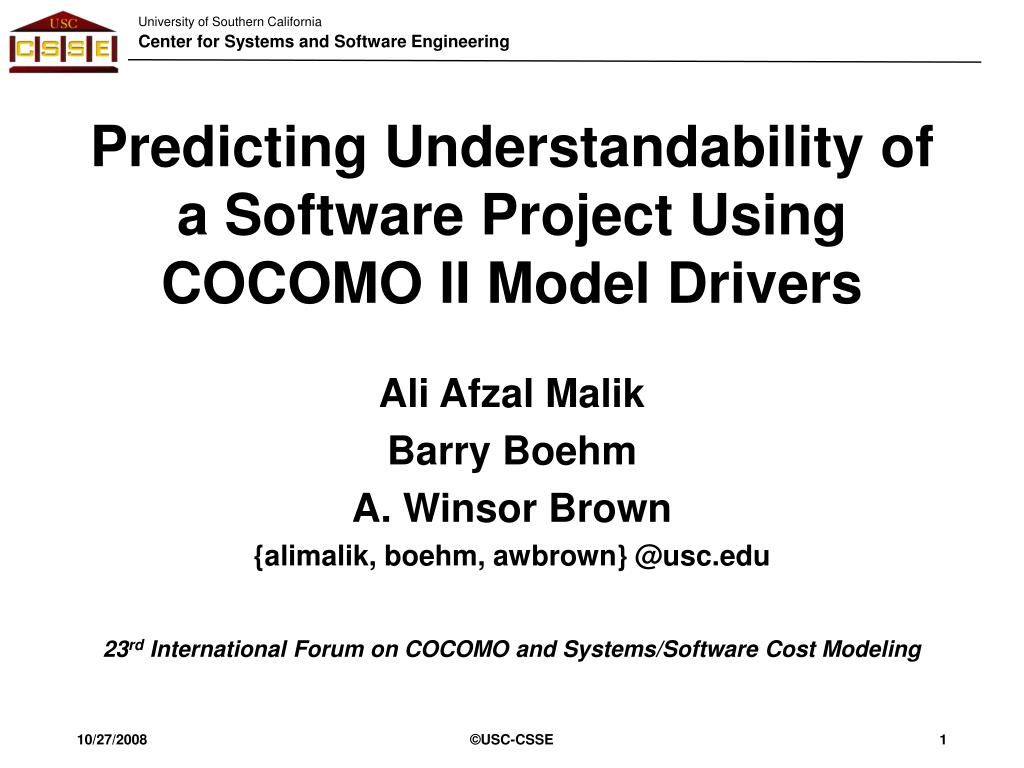 predicting understandability of a software project using cocomo ii model drivers l.