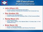 hbi executives 97 years of experience